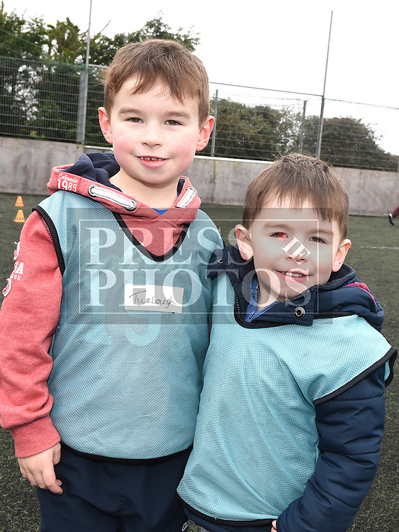 Turlough and Lachlann McCague who took part in the St Mary's GAA Club Academy for 4-7 year olds. Photo:Colin Bell/pressphotos.ie