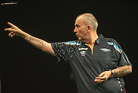 09.04.2015. Sheffield, England. Betway Premier League Darts. Matchday 10.  Phil Taylor [ENG] in his match with Raymond van Barneveld [NED]
