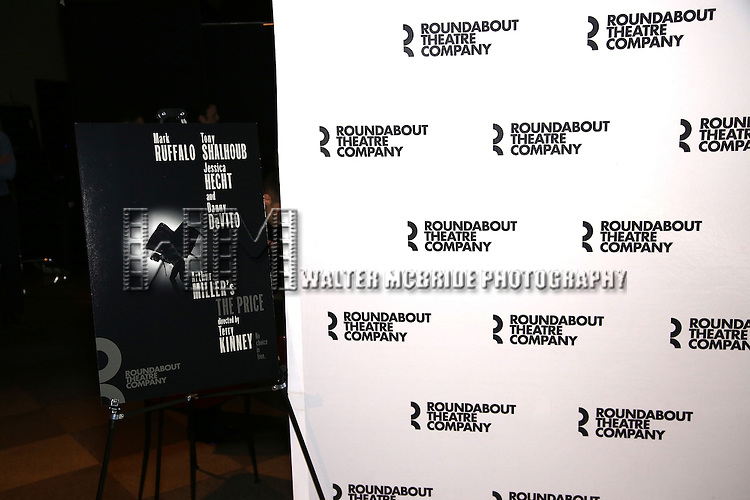 Signage for the Roundabout Theater Company production of Arthur Miller's 'The Price' starring Mark Ruffalo, Tony Shalhoub, Jessica Hecht and Danny DeVito at The Roundabout Theatre Studios on January 19, 2017 in New York City.