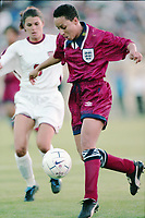 SAN JOSE, CA - MAY 09: Mia Hamm # 9 during a game between England and USWNT at Spartan Stadium on May 09, 1997 in San Jose, California.