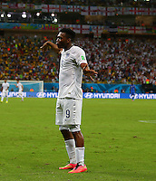 Daniel Sturridge of England celebrates scoring his goal to make the score 1-1