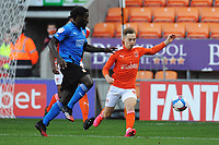 Blackpool's Dan Kemp vies for possession with Swindon Town's Anthony Grant<br /> <br /> Photographer Kevin Barnes/CameraSport<br /> <br /> The EFL Sky Bet League One - Blackpool v Swindon Town - Saturday 19th September 2020 - Bloomfield Road - Blackpool<br /> <br /> World Copyright © 2020 CameraSport. All rights reserved. 43 Linden Ave. Countesthorpe. Leicester. England. LE8 5PG - Tel: +44 (0) 116 277 4147 - admin@camerasport.com - www.camerasport.com
