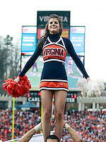 CHARLOTTESVILLE, VA- NOVEMBER 12: Virginia Cavalier cheerleaders perform during the game against the Virginia Tech Hokies on November 28, 2011 at Scott Stadium in Charlottesville, Virginia. Virginia Tech defeated Virginia 38-0. (Photo by Andrew Shurtleff/Getty Images) *** Local Caption ***