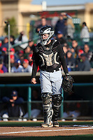 Tyler Baker (9) of the Visalia Rawhide in the field at catcher during a game a game against the Lancaster JetHawks at The Hanger on May 7, 2016 in Lancaster, California. Lancaster defeated Visalia, 19-5. (Larry Goren/Four Seam Images)