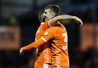 Blackpool's Chris Long celebrates victory at the end of the match with team mate Jay Spearing <br />  <br /> Photographer Andrew Kearns/CameraSport<br /> <br /> The EFL Sky Bet League One - Portsmouth v Blackpool - Saturday 12th January 2019 - Fratton Park - Portsmouth<br /> <br /> World Copyright © 2019 CameraSport. All rights reserved. 43 Linden Ave. Countesthorpe. Leicester. England. LE8 5PG - Tel: +44 (0) 116 277 4147 - admin@camerasport.com - www.camerasport.com