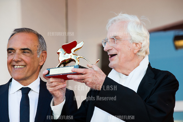 French director Bertrand Tavernier, Venice Film Festival director Alberto Barbera at a special screening of Tavernier's 1989 movie &quot;Life And Nothing But&quot; (&quot;La vie et rein d'autra&quot;). He was awarded with the Golden Lion For Lifetime Achievement 2015 at a ceremony at the 2015 Venice Film Festival.<br /> September 8, 2015  Venice, Italy<br /> Picture: Kristina Afanasyeva / Featureflash