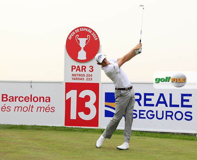 Thomas Pieters (BEL) on the 13th tee during Round 1 of the Open de Espana  in Club de Golf el Prat, Barcelona on Thursday 14th May 2015.<br /> Picture:  Thos Caffrey / www.golffile.ie