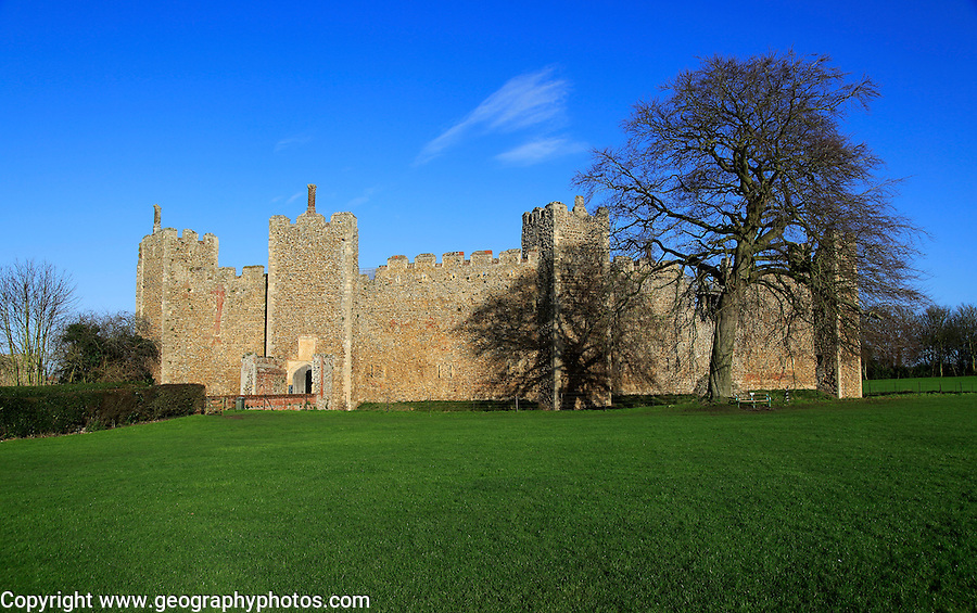 Curtain wall of Framingham castle in winter, Suffolk, England, UK
