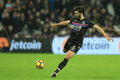 30th January 2018, London Stadium, London, England; EPL Premier League football, West Ham United versus Crystal Palace; James Tomkins of Crystal Palace clears upfield