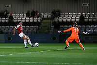 Katie McCabe of Arsenal scores the third goal for her team during Arsenal Women vs Bristol City Women, FA Women's Super League Football at Meadow Park on 14th March 2019
