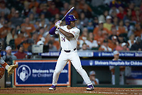 Maurice Hampton Jr. (14) of the LSU Tigers at bat against the Texas Longhorns in game three of the 2020 Shriners Hospitals for Children College Classic at Minute Maid Park on February 28, 2020 in Houston, Texas. The Tigers defeated the Longhorns 4-3. (Brian Westerholt/Four Seam Images)