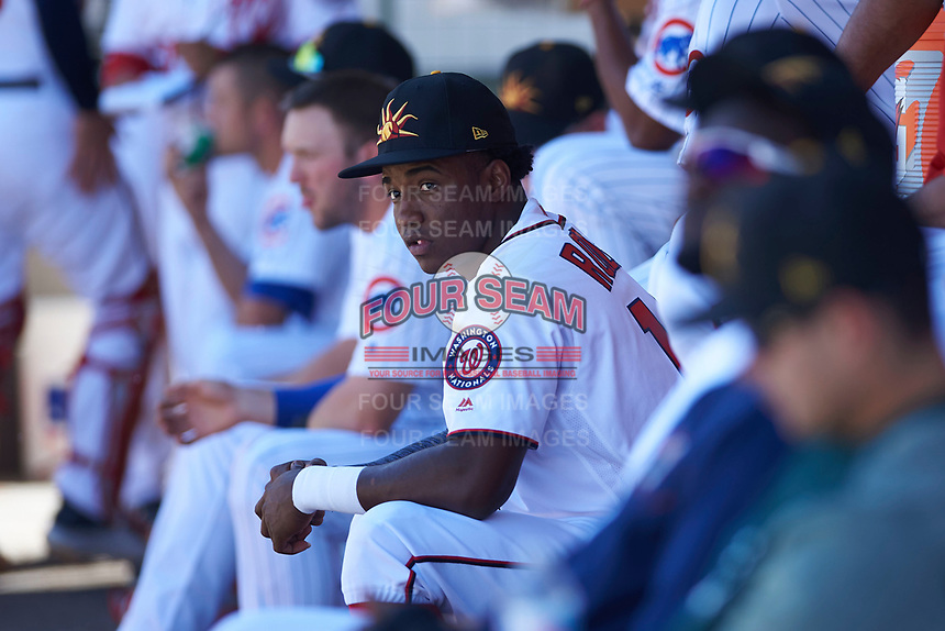 Mesa Solar Sox center fielder Victor Robles (14), of the Washington Nationals organization, sits on the bench during an Arizona Fall League game against the Peoria Javelinas on October 25, 2017 at Sloan Park in Mesa, Arizona. The Solar Sox defeated the Javelinas 6-3. (Zachary Lucy/Four Seam Images)