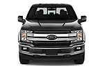 Car photography straight front view of a 2018 Ford F-150 Lariat 4 Door Pick-up Front View