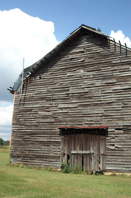After tabacco leaves are harvested, they have to be dried.  Huge barns were built to hold racks of drying tabacco leaves.  Today the huge structures can still be seen in North Florida, but are in disrepair, since tabacco is no longer grown in the area.