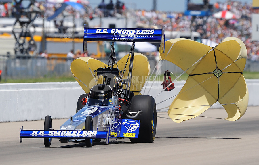 May 30, 2009; Topeka, KS, USA: NHRA top fuel dragster driver Spencer Massey during qualifying for the Summer Nationals at Heartland Park Topeka. Mandatory Credit: Mark J. Rebilas-
