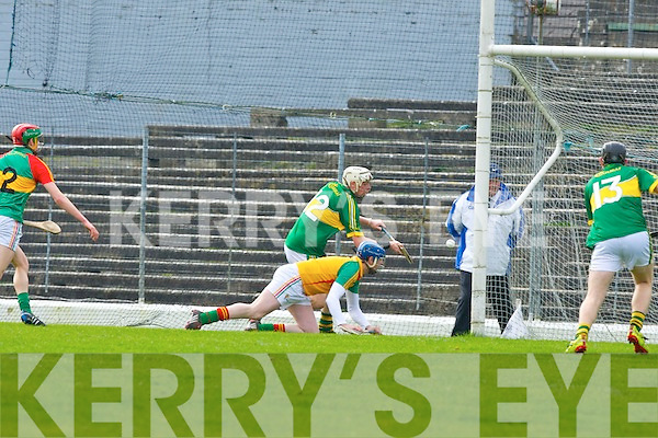 Shane Nolan Kerry slots the ball past Carlow keeper Frank Foley for Kerry's goal during their Allianz Hurling league clash in Fitzgerald Stadium on Sunday