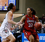 SIOUX FALLS, SD: MARCH 21:  Sara Lytle #32 of Union drives toward Megan Skaggs #20 of Central Missouri during their game at the 2018 Division II Women's Basketball Championship at the Sanford Pentagon in Sioux Falls, S.D. (Photo by Dick Carlson/Inertia)