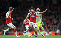 Mohamed Elneny of Arsenal under pressure from Konstantin Rausch of FC Koln during the UEFA Europa League match between Arsenal and FC Koln at the Emirates Stadium, London, England on 14 September 2017. Photo by Andrew Aleks.