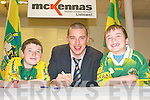 All Star: Signing autographs for two Kerry supporters at the official .opening of McKenna's new showroom in Listowel on Saturday afternoon was .Kieran Donaghy with Michael and Diarmuid Shine, Knocknagoshel..   Copyright Kerry's Eye 2008