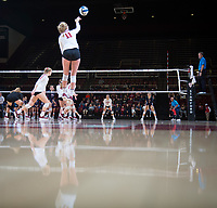 STANFORD, CA - December 1, 2018: Kate Formico, Kathryn Plummer at Maples Pavilion. The Stanford Cardinal defeated Loyola Marymount 25-20, 25-15, 25-17 in the second round of the NCAA tournament.