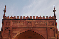 Agra, India.  Top of Interior Gate, inside Agra Fort, 16th-century.