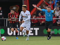 Match referee Kevin Friend (right)  giving the OK  to Sheffield United's Cullum Robinson (centre) to play on<br /> <br /> Photographer David Horton/CameraSport<br /> <br /> The Premier League - Bournemouth v Sheffield United - Saturday 10th August 2019 - Vitality Stadium - Bournemouth<br /> <br /> World Copyright © 2019 CameraSport. All rights reserved. 43 Linden Ave. Countesthorpe. Leicester. England. LE8 5PG - Tel: +44 (0) 116 277 4147 - admin@camerasport.com - www.camerasport.com