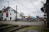 escape group crossing the train tracks<br /> <br /> 104th Scheldeprijs 2016