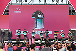 Bora-Hansgrohe team on stage at the Team Presentation before the 101st edition of the Giro d'Italia 2018. Jerusalem, Israel. 3rd May 2018.<br /> Picture: LaPresse/Fabio Ferrari | Cyclefile<br /> <br /> <br /> All photos usage must carry mandatory copyright credit (&copy; Cyclefile | LaPresse/Fabio Ferrari)