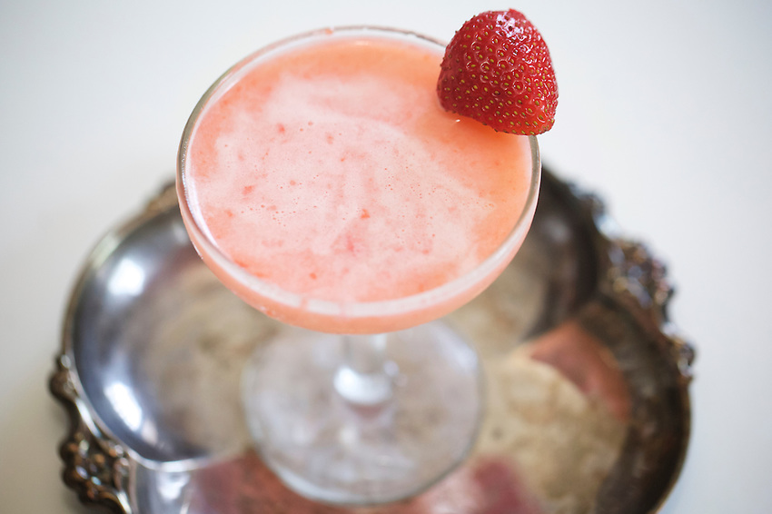 Brooklyn, NY - June 1, 2016: A cocktail by cookbook author Nicole Taylor, made with Coconut Milk, Ginger, Strawberries and Tequila. <br /> <br /> CREDIT: Clay Williams for SheKnows.<br /> <br /> &copy; Clay Williams / claywilliamsphoto.com
