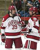 Brian Hart (Harvard - 39), Tyler Moy (Harvard - 2) - The Harvard University Crimson defeated the visiting Princeton University Tigers 5-0 on Harvard's senior night on Saturday, February 28, 2015, at Bright-Landry Hockey Center in Boston, Massachusetts.