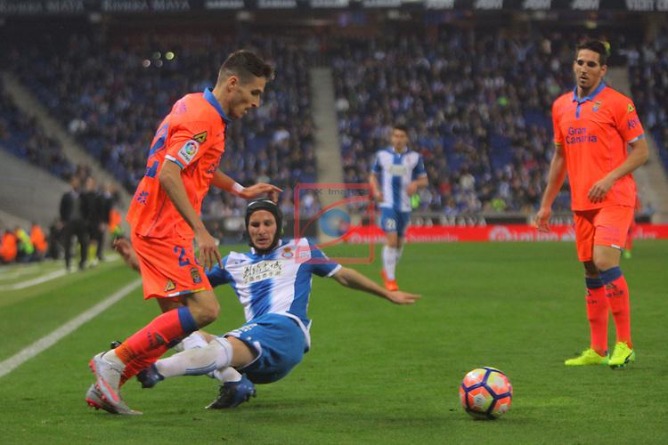 League Santander 2016/2017. Game: 27.<br /> RCD Espanyol vs UD Las Palmas: 4-3.<br /> Helder vs Pablo Piatti.
