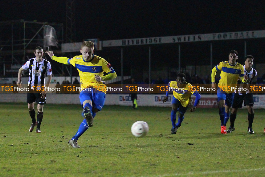 Ryan Boswell of Romford takes a penalty that is saved during Heybridge Swifts vs Romford, Ryman League Divison 1 North Football at Scraley Road on 15th March 2016