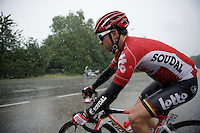 Sean De Bie (BEL/Lotto-Soudal) racing in the shower<br /> <br /> stage 5: Eindhoven - Boxtel (183km)<br /> 29th Ster ZLM Tour 2015