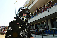 Sept. 22, 2012; Ennis, TX, USA: NHRA top fuel dragster driver Shawn Langdon during qualifying for the Fall Nationals at the Texas Motorplex. Mandatory Credit: Mark J. Rebilas-