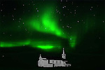 ST. PAUL'S ANGLICAN CHURCH AND THE NORTHERN LIGHTS,  'Aurora borealis' CHURCHILL, MANITOBA, CANADA