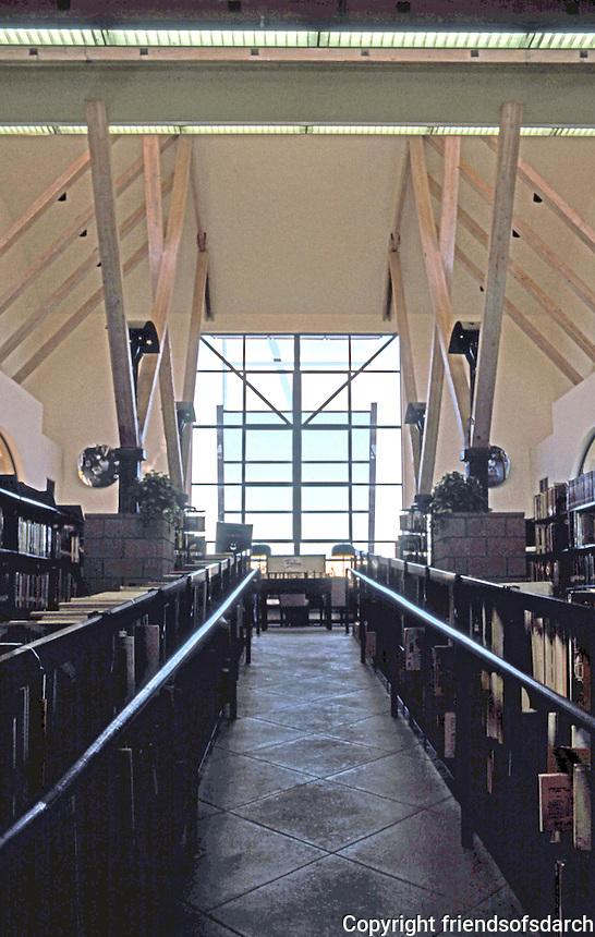 Rob W. Quigley: Linda Vista Library Interior. Looking north up wheel chair ramp towards large window and sunshade. Photo '97.