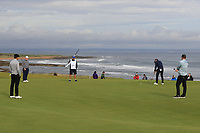 Robert Macintyre (SCO) and Alex Noren (SWE) on the 4th green during Round 2 of the Alfred Dunhill Links Championship 2019 at Kingbarns Golf CLub, Fife, Scotland. 27/09/2019.<br /> Picture Thos Caffrey / Golffile.ie<br /> <br /> All photo usage must carry mandatory copyright credit (© Golffile | Thos Caffrey)