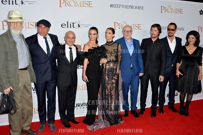 James Cromwell, Tamer Hassan, Eric Esrailian, Charlotte Le Bon, Angela Sarafyan, Terry George, Chris Cornell, Christian Bale &amp; Shohreh Aghdashloo at the premiere for &quot;The Promise&quot; at the TCL Chinese Theatre, Hollywood. Los Angeles, USA 12 April  2017<br /> Picture: Paul Smith/Featureflash/SilverHub 0208 004 5359 sales@silverhubmedia.com