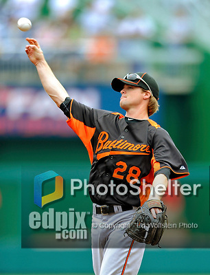 19 June 2011: Baltimore Orioles' infielder Blake Davis warms up prior to a game against the Washington Nationals at Nationals Park in Washington, District of Columbia. The Orioles defeated the Nationals 7-4 in inter-league play, ending Washington's 8-game winning streak. Mandatory Credit: Ed Wolfstein Photo