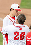 MIDDLETOWN, CT. 06 June 2018-060618BS575 - Wolcott Assistant coach Ronnie Gambino celebrates with Wolcott's Brett Adams (4) after getting out of jam during the CIAC Tournament Class M Semi-Final baseball game between Ledyard and Wolcott at Palmer Field on Wednesday afternoon. Wolcott beat Ledyard 9-4 and advances to the Class M final this weekend. Bill Shettle Republican-American