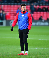 Lincoln City's Kellan Gordon during the pre-match warm-up<br /> <br /> Photographer Andrew Vaughan/CameraSport<br /> <br /> The EFL Sky Bet League Two - Lincoln City v Port Vale - Tuesday 1st January 2019 - Sincil Bank - Lincoln<br /> <br /> World Copyright &copy; 2019 CameraSport. All rights reserved. 43 Linden Ave. Countesthorpe. Leicester. England. LE8 5PG - Tel: +44 (0) 116 277 4147 - admin@camerasport.com - www.camerasport.com