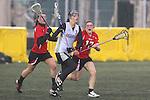 Santa Barbara, CA 02/19/11 - Laura Hunter (Utah #1), Baylee Fox (Utah #17) and Lauren VanCitters (Nevada-Reno #3) in action during the Utah-Nevada Reno game at the 2011 Santa Barbara Shootout.