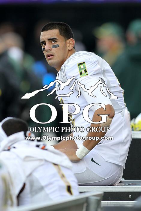2013-10-12: Oregon's Marcus Mariota against Washington.  Oregon won 45-24 over Washington in Seattle, WA.