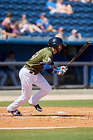 Biloxi Shuckers second baseman Nick Franklin (4) follows through on a swing during a game against the Jacksonville Jumbo Shrimp on May 6, 2018 at MGM Park in Biloxi, Mississippi.  Biloxi defeated Jacksonville 6-5.  (Mike Janes/Four Seam Images)