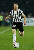 Stephan Lichtsteiner    in action during the Italian Serie A soccer match between SSC Napoli and Juventus FC   at San Paolo stadium in Naples, March 30 , 2014