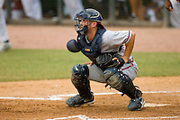 Catcher Daniel Elorriaga-Matra #32 of the Danville Braves waits for a throw at Pioneer Park June 28, 2009 in Greeneville, Tennessee. (Photo by Brian Westerholt / Four Seam Images)