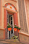 Decorated facade of a building in downtown Como, Italy a town on Lake Como