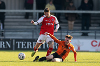 Harry Taylor of Barnet and Wes Burns of Fleetwood Town during Barnet vs Fleetwood Town, Emirates FA Cup Football at the Hive Stadium on 10th November 2019