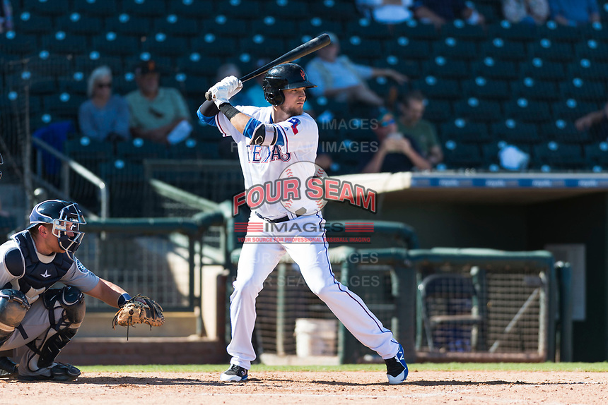 Surprise Saguaros third baseman Charles Leblanc (12), of the Texas Rangers organization, at bat during an Arizona Fall League game against the Peoria Javelinas at Surprise Stadium on October 17, 2018 in Surprise, Arizona. (Zachary Lucy/Four Seam Images)