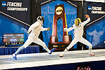 UNIVERSITY PARK, PA - MARCH 25: Sidarth Kumbla of Columbia University takes on Axel Kiefer of Notre Dame University in the foil competition during the Division I Men's Fencing Championship held at the Multi-Sport Facility on the Penn State University campus on March 25, 2018 in University Park, Pennsylvania. (Photo by Doug Stroud/NCAA Photos via Getty Images)
